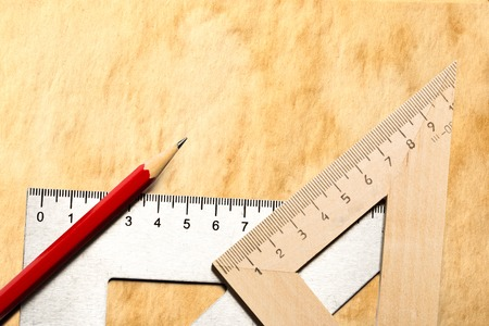 drafting tools: Drafting wooden and steel tools with pencil Stock Photo