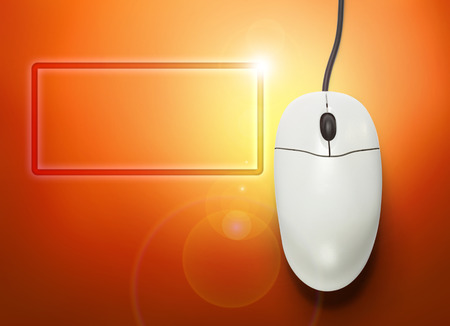 scrollwheel: Computer mouse on orange background  in closeup