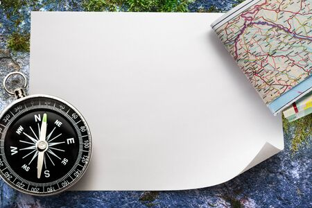 blank space: Compass with map on blank piece of paper Stock Photo