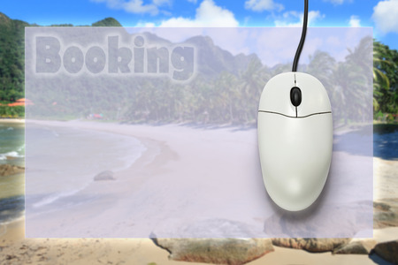 scrollwheel: Computer mouse on travel background  in closeup