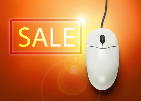 click button: Computer mouse with click button in closeup Stock Photo