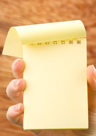 yellow notepad: Female hand holding blank yellow notepad vertical Stock Photo