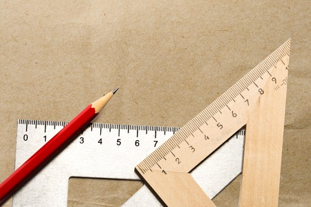 drafting tools: Drafting tools with red pencil in closeup