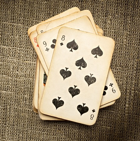 passion play: Pack of old playing cards in closeup
