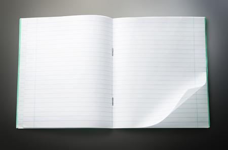 Geopend leeg notitieboekje met gevouwen linker hoek Stockfoto