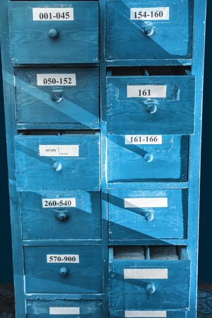 drawer: Drawer with business papers organized in archive Stock Photo