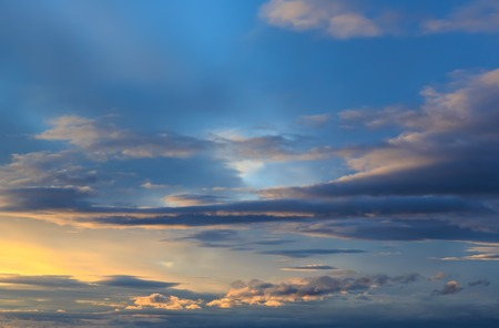 clear blue sky: Blue sky with white clouds before sunset