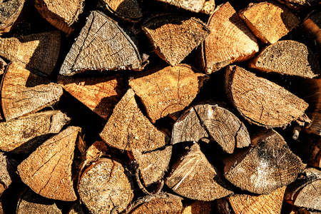 pile of logs: Background of dry chopped firewood logs in a pile