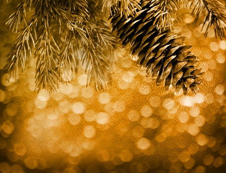 Blur sepia christmas background with fir closeup Stock Photo