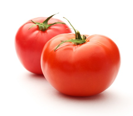 red circle: Fresh red tomatoes on the white background