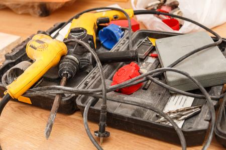 hardware tools: Tool box of carpenter on the floor
