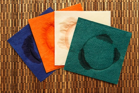 servilletas: A few used paper napkins in closeup
