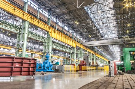Machine shop of metallurgical works indoors room 에디토리얼