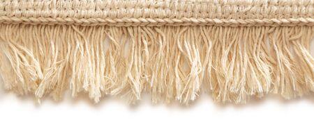 fringe: Small bathroom carpet of rough textile with fringe