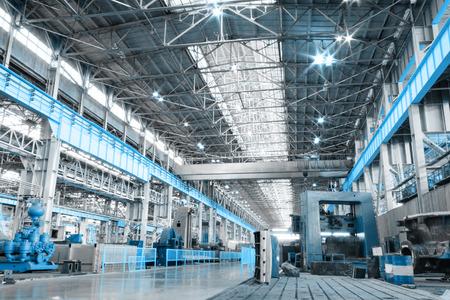 Machine shop of metallurgical works indoors room Foto de archivo
