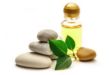 shampoo bottles: Stones, leaves and shampoo bottles on white