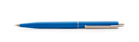 soft tip pen: Blue pen in closeup isolated on white background Stock Photo