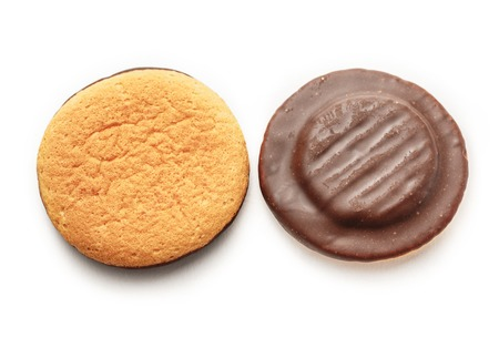 chocolate biscuit: Chocolate biscuits with filling on white background