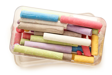 white chalks: Pastel colourful chalks in box on white