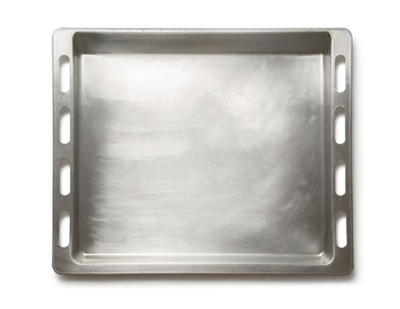 oven tray: Empty metal oven tray on white background