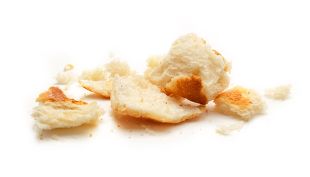 Dried bread crumbs on the white background Stock Photo