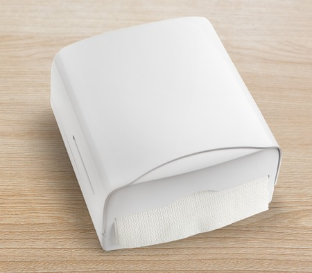 dispenser: New white towel dispenser closeup and blank Stock Photo