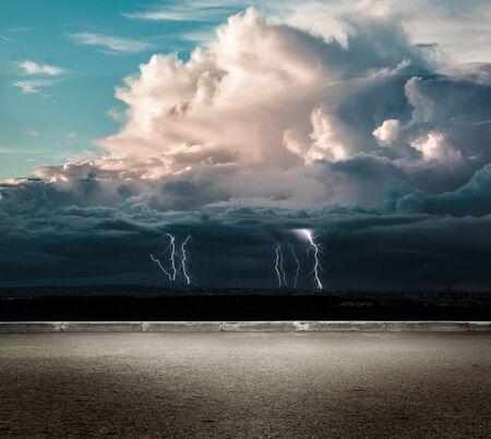 thundershower: Night thunder lightning over the dark sky view