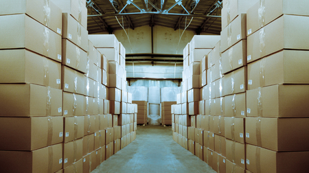 storehouse: Paper products and goods storehouse with boxes Stock Photo