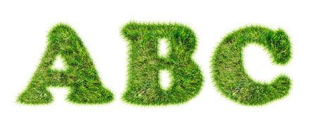 Latin alphabet letters made of green grass