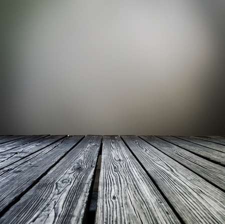 rostrum: Rostrum made of wooden planks on gray background