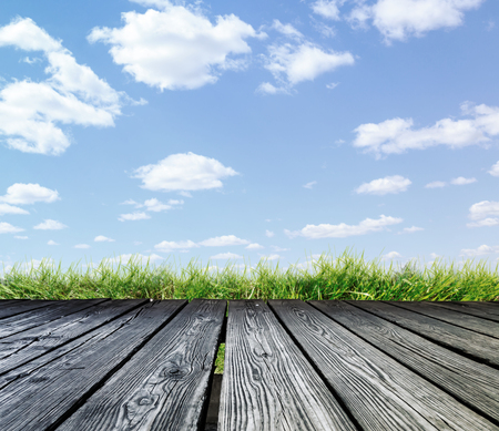 rostrum: Rostrum made of wooden planks on blue sky background Stock Photo