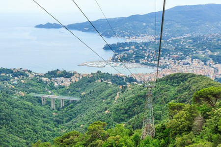 italian sea: Italian resort Rapallo sea view from above Stock Photo