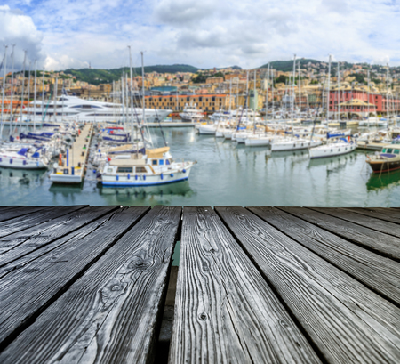 rostrum: Rostrum to the sea view of Genoa concept Stock Photo