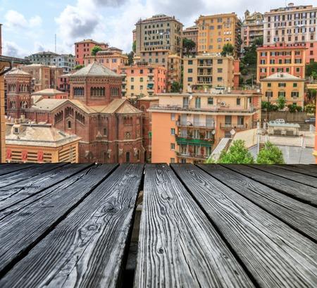 rostrum: Rostrum to the old city of Genoa concept