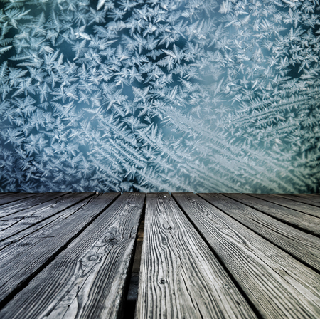 rostrum: Rostrum made of wooden planks on snowflakes background