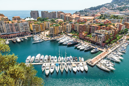 Monaco Monte Carlo sea view with yachts Stock Photo