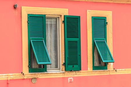 open windows: Open windows of old italian houses closeup