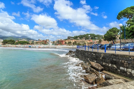italian sea: Italian resort Sestri Levante sea beach view Stock Photo