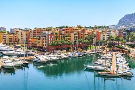 monte: Monaco Monte Carlo sea view with yachts Stock Photo