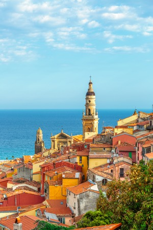 menton: Riviera town Menton view with sea and church Stock Photo
