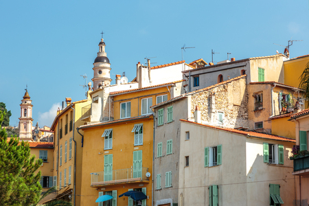 menton: Riviera town Menton view with church in summer Stock Photo