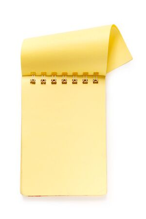 yellow notepad: Blank yellow notepad on the white background