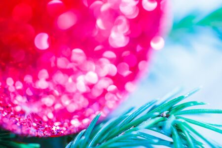 evergreen branch: Christmas background with evergreen branch and jingle bells Foto de archivo