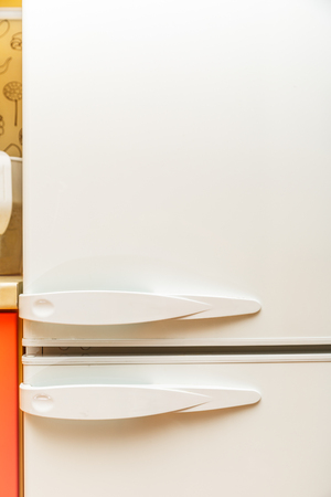 frig: White doors of home refrigerator in closeup