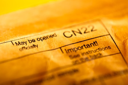 Post envelope closeup in the yellow toning