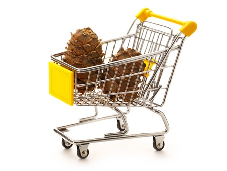cedro: Market pushcart with cones on white background closeup