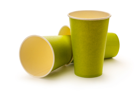 ware: Green paper cups on white background Stock Photo