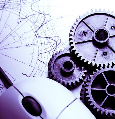 Mecanismos mecánicos, de dibujo y de ratón Foto de archivo