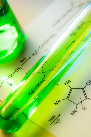 Chemical tubes with reaction formula in light
