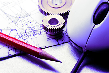 Mechanical ratchets, drafting and mouse in closeup Stock Photo